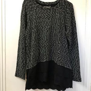 🛍RXB Black & White Mixed Media Long Sleeves Tunic